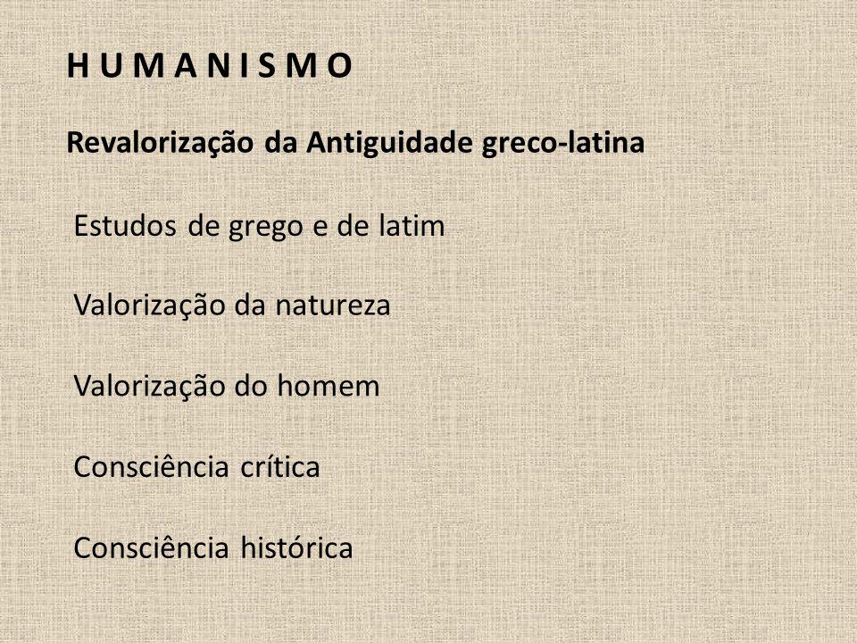 H U M A N I S M O Revalorização da Antiguidade greco-latina
