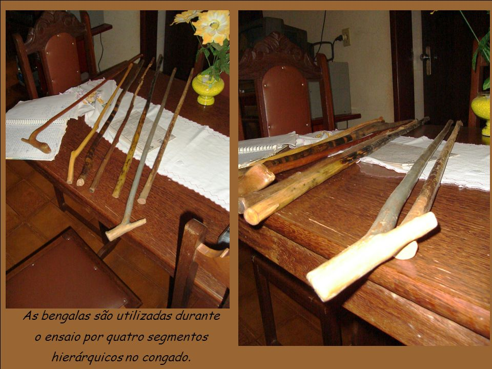 As bengalas são utilizadas durante o ensaio por quatro segmentos hierárquicos no congado.