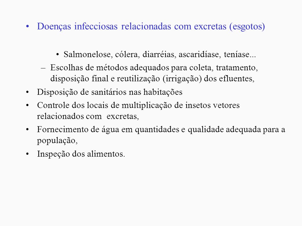 Doenças infecciosas relacionadas com excretas (esgotos)
