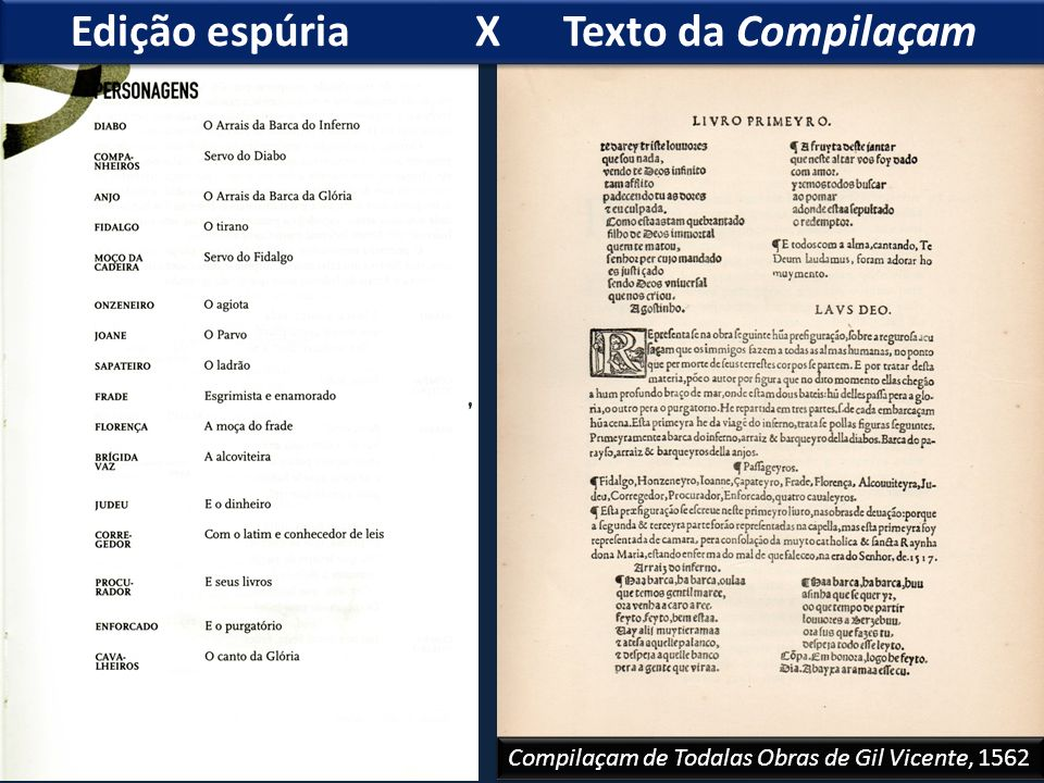 Edição espúria X Texto da Compilaçam