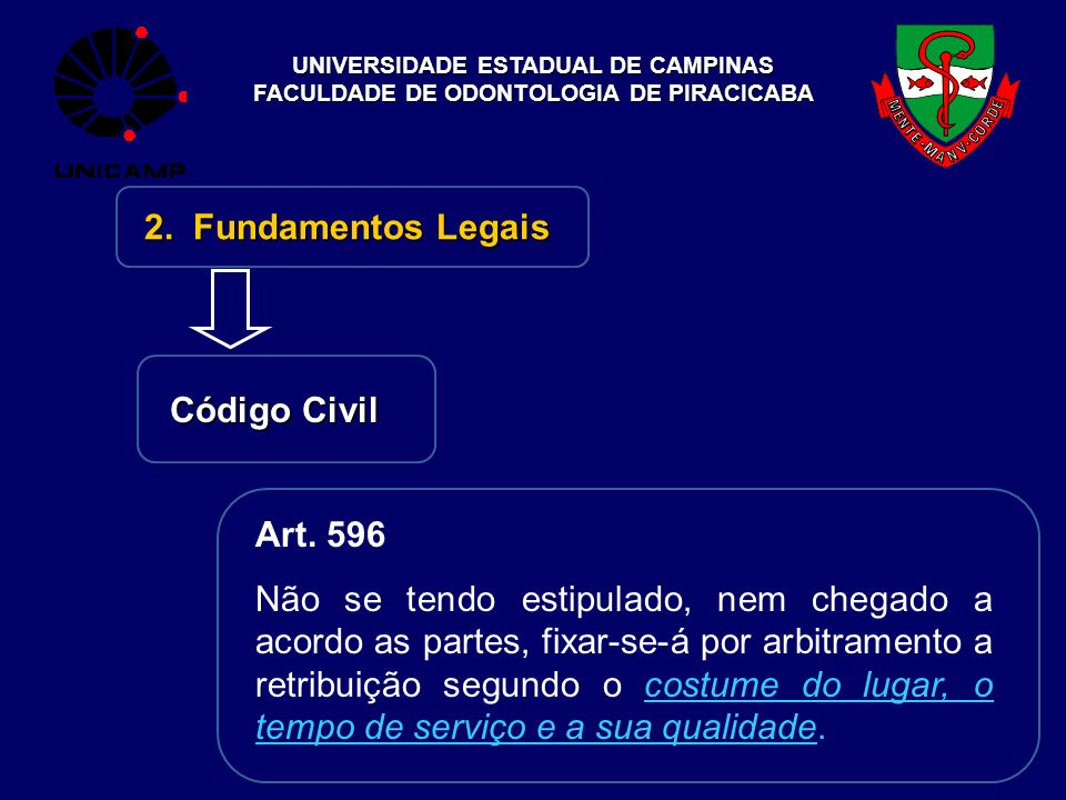 2. Fundamentos Legais Código Civil Art. 596