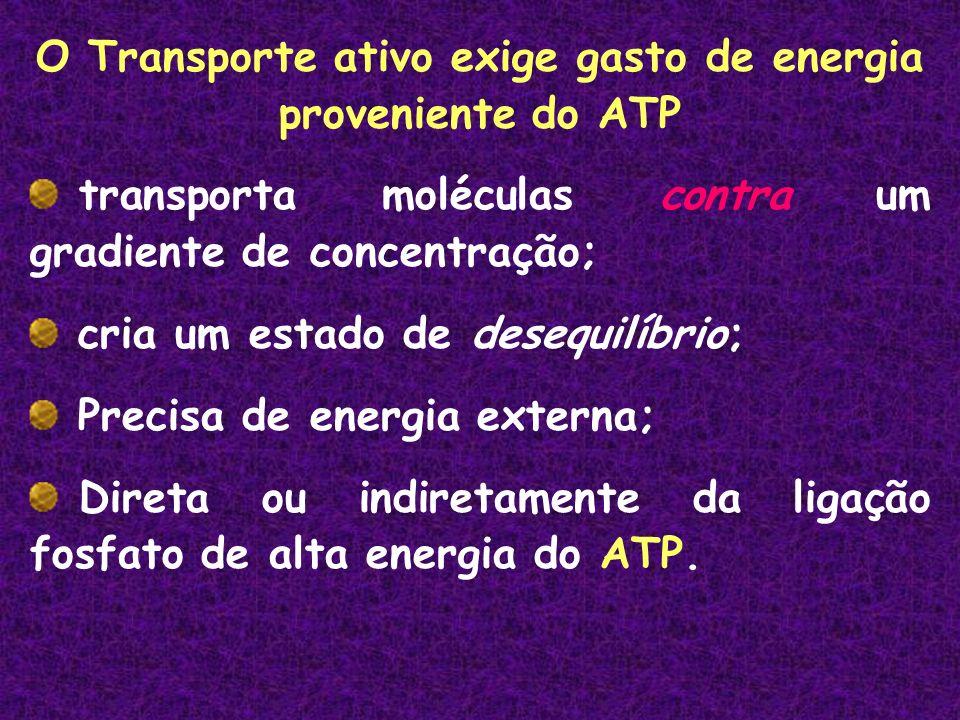 O Transporte ativo exige gasto de energia proveniente do ATP