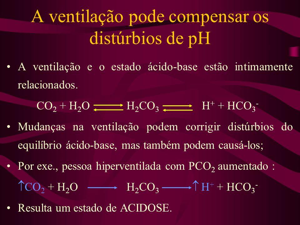 A ventilação pode compensar os distúrbios de pH
