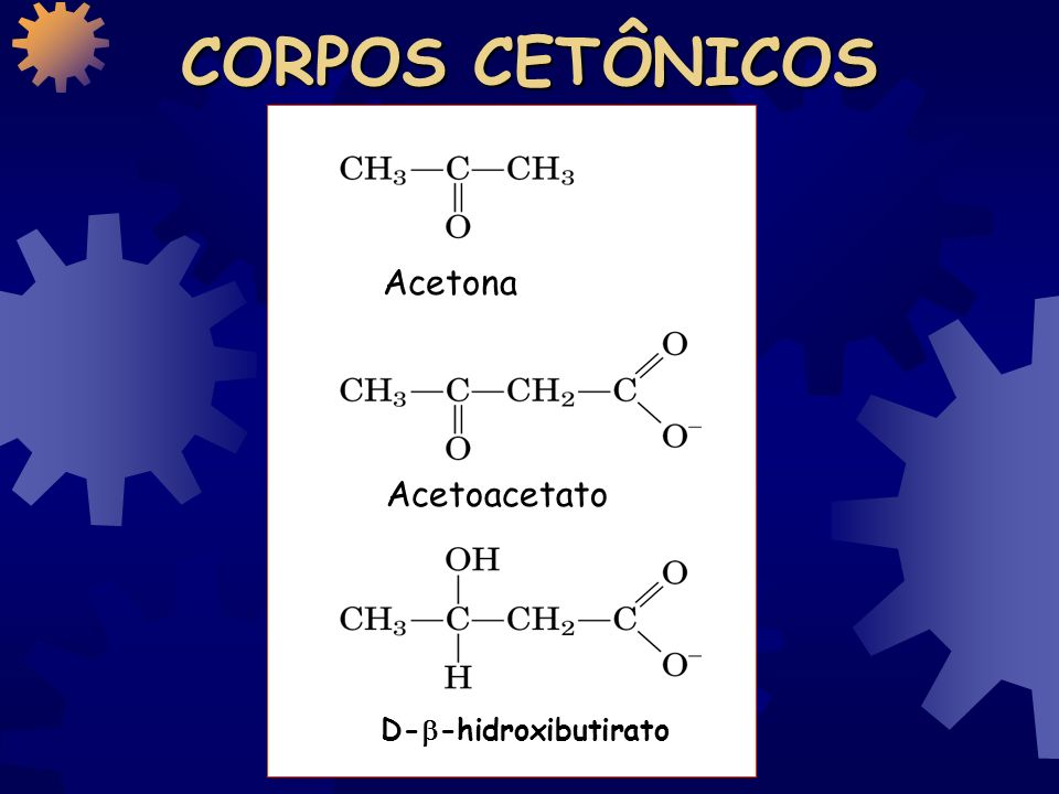 CORPOS CETÔNICOS Acetona Acetoacetato D--hidroxibutirato