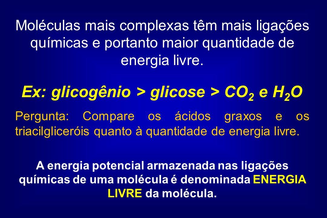 Ex: glicogênio > glicose > CO2 e H2O