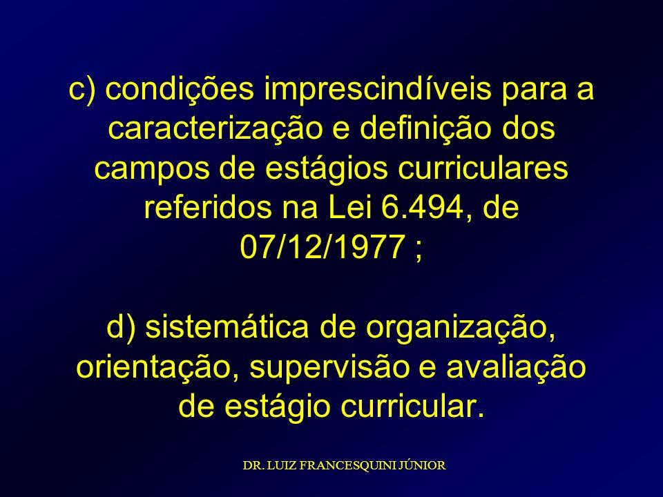 c) condições imprescindíveis para a caracterização e definição dos campos de estágios curriculares referidos na Lei 6.494, de 07/12/1977 ; d) sistemática de organização, orientação, supervisão e avaliação de estágio curricular.