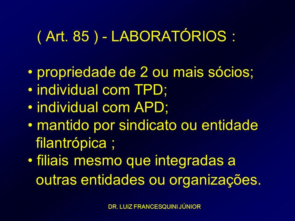 ( Art. 85 ) - LABORATÓRIOS : • propriedade de 2 ou mais sócios; • individual com TPD; • individual com APD; • mantido por sindicato ou entidade filantrópica ; • filiais mesmo que integradas a outras entidades ou organizações.