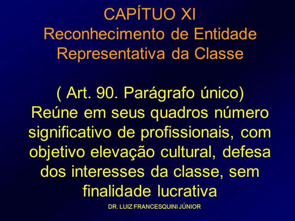 CAPÍTUO XI Reconhecimento de Entidade Representativa da Classe ( Art