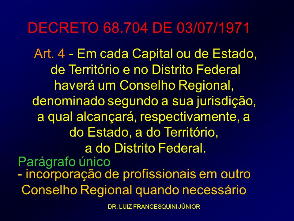 DECRETO 68.704 DE 03/07/1971 Art. 4 - Em cada Capital ou de Estado,