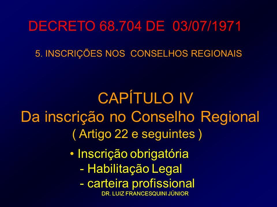 Da inscrição no Conselho Regional