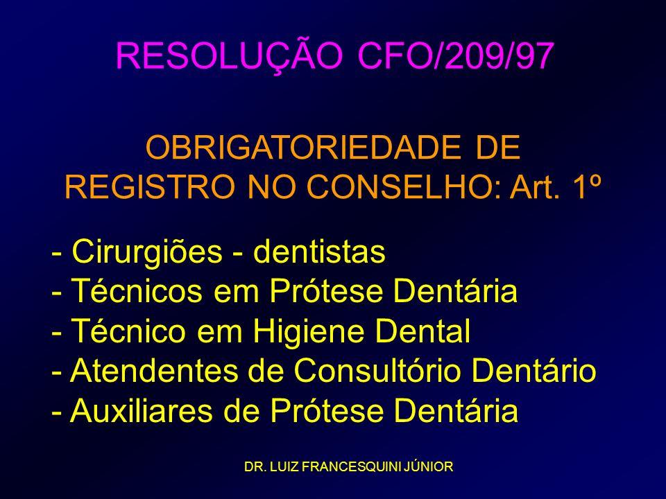 REGISTRO NO CONSELHO: Art. 1º