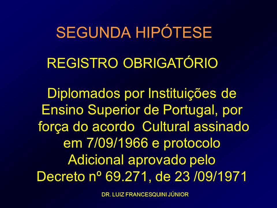 SEGUNDA HIPÓTESE REGISTRO OBRIGATÓRIO Diplomados por Instituições de