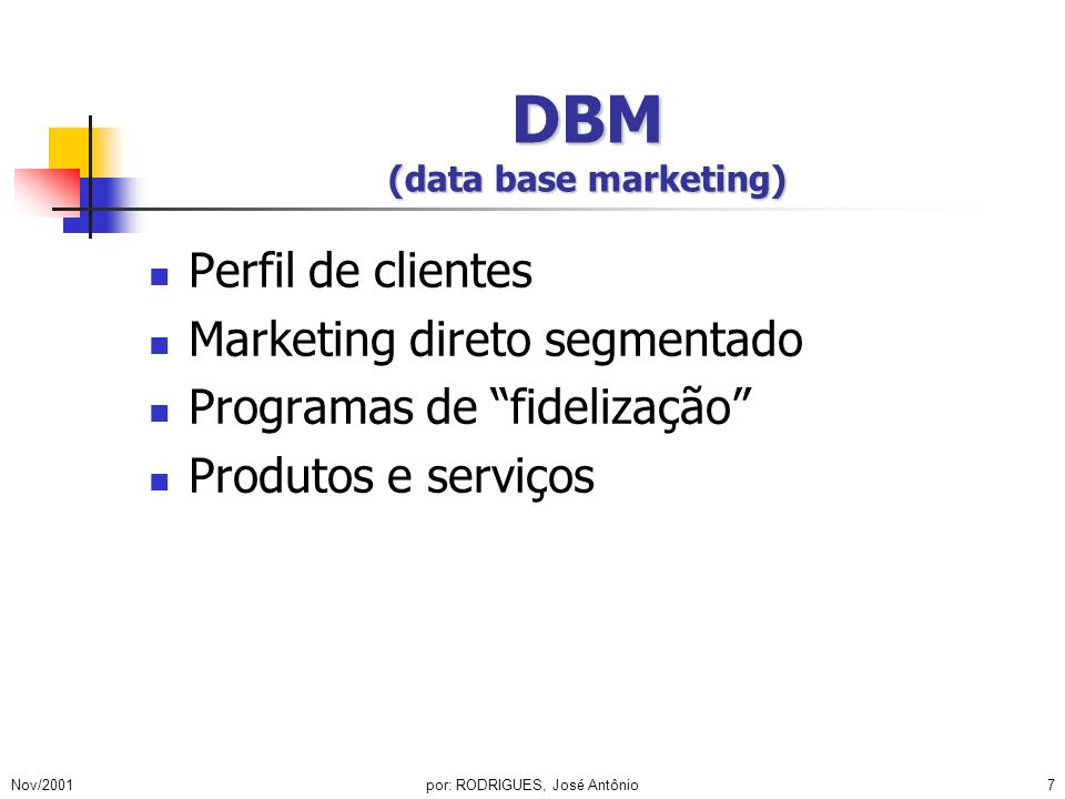 DBM (data base marketing)