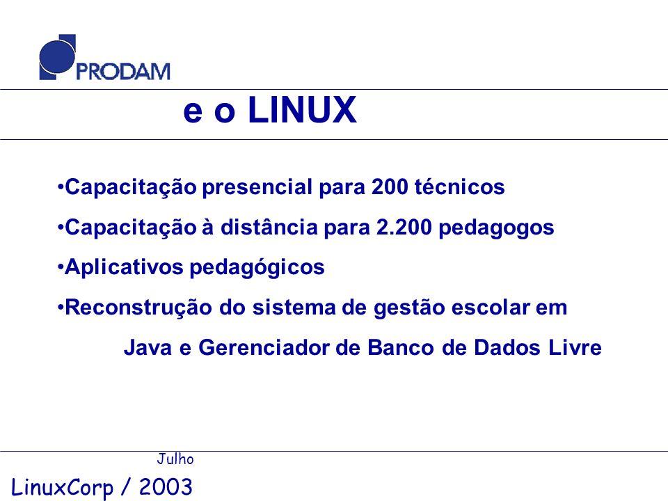 e o LINUX Capacitação presencial para 200 técnicos