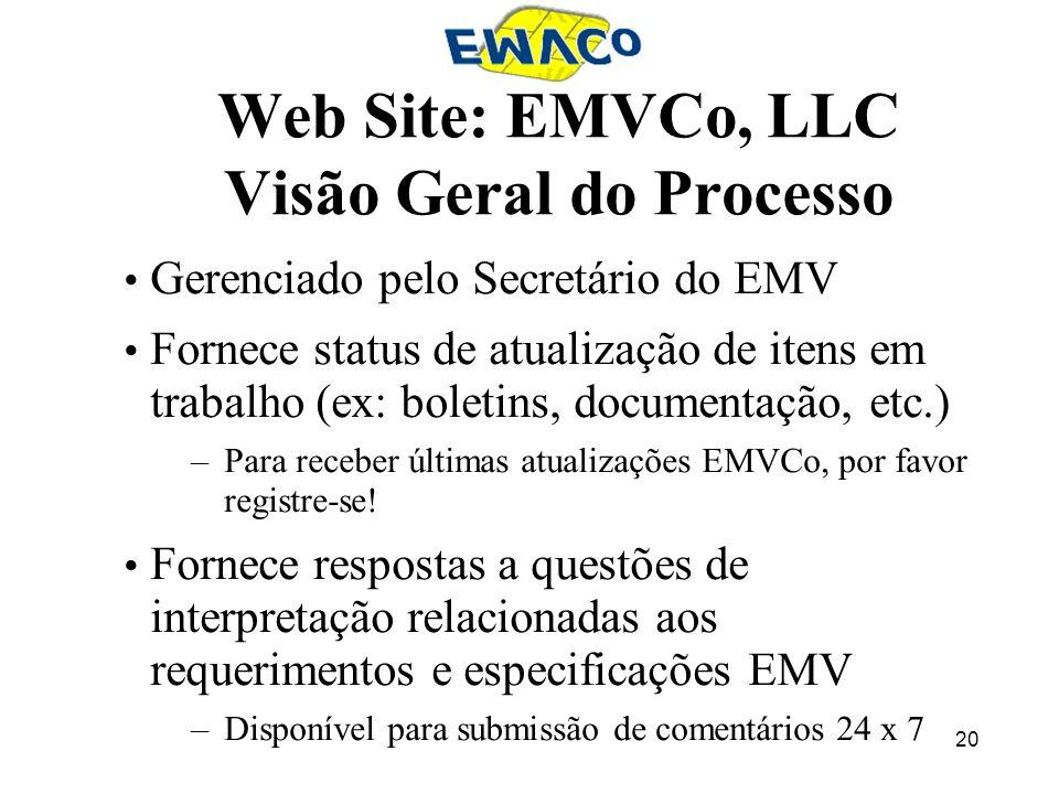 Web Site: EMVCo, LLC Visão Geral do Processo