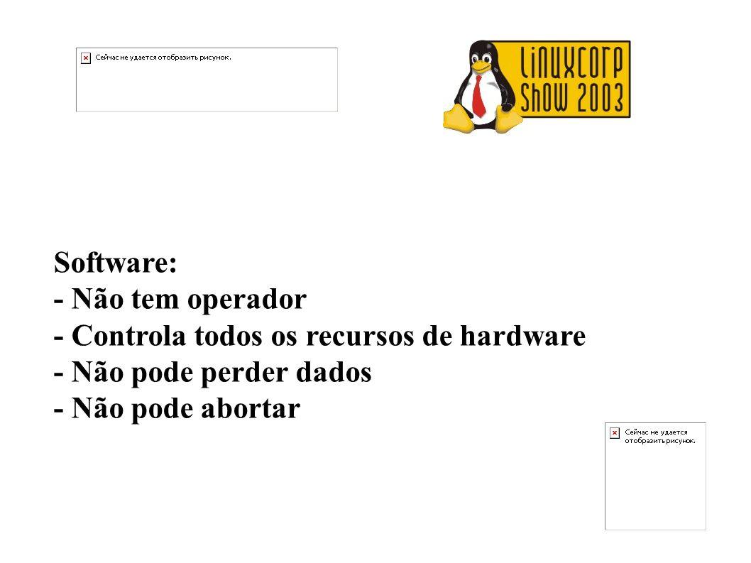 Software:- Não tem operador.- Controla todos os recursos de hardware.
