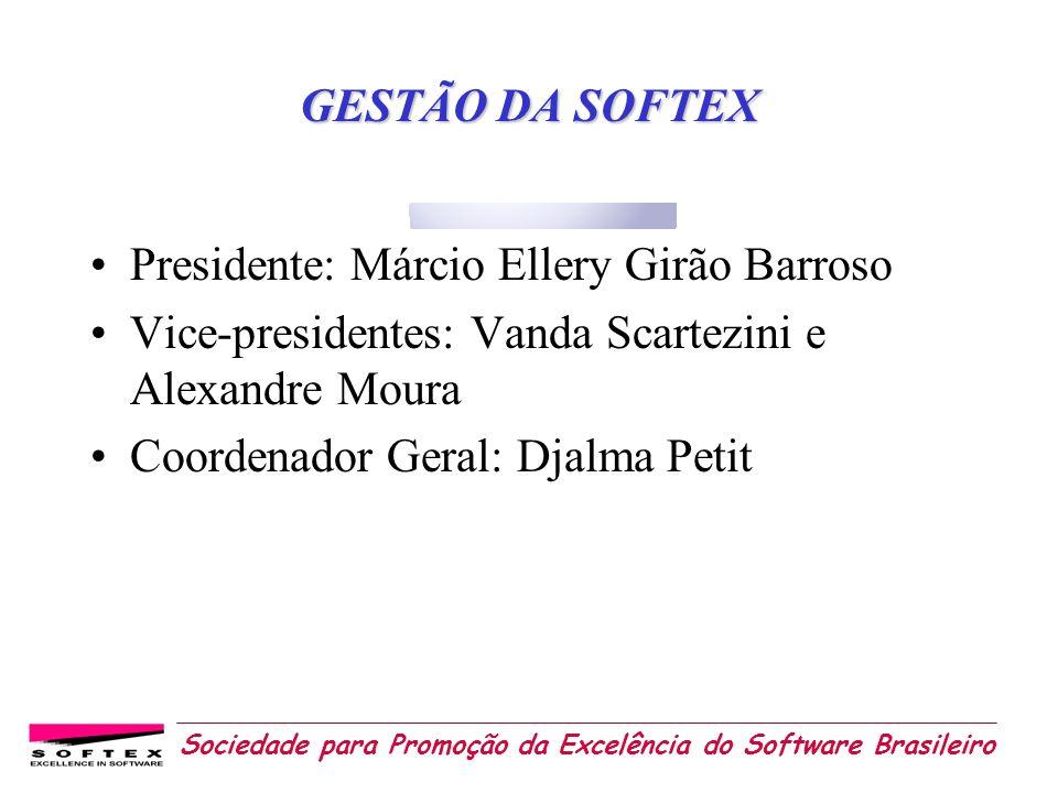 GESTÃO DA SOFTEX Presidente: Márcio Ellery Girão Barroso. Vice-presidentes: Vanda Scartezini e Alexandre Moura.