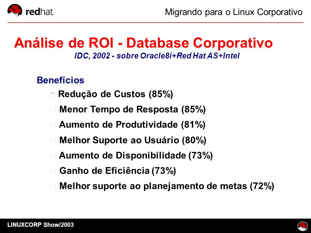 IDC, 2002 - sobre Oracle8i+Red Hat AS+Intel