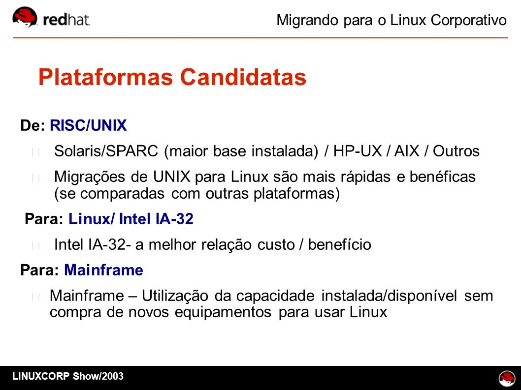 Plataformas Candidatas