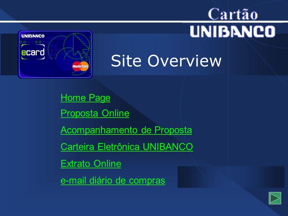 Site Overview Home Page Proposta Online Acompanhamento de Proposta