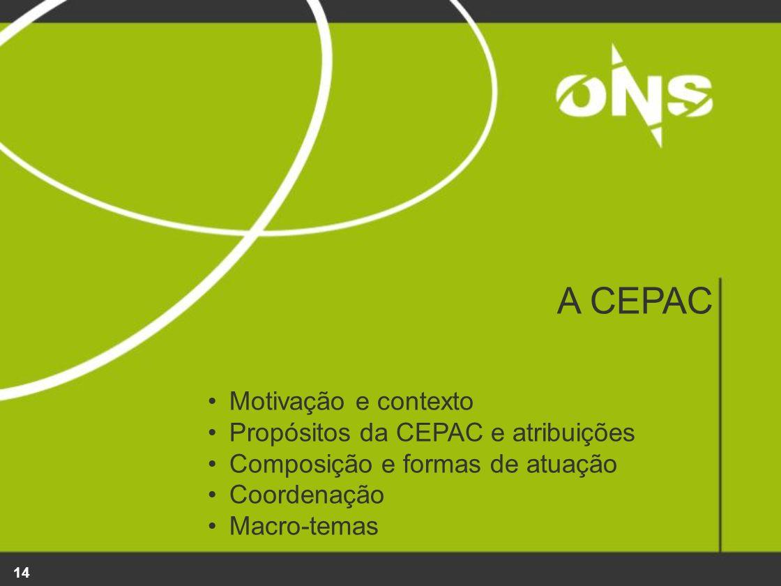 A CEPAC Motivação e contexto Propósitos da CEPAC e atribuições