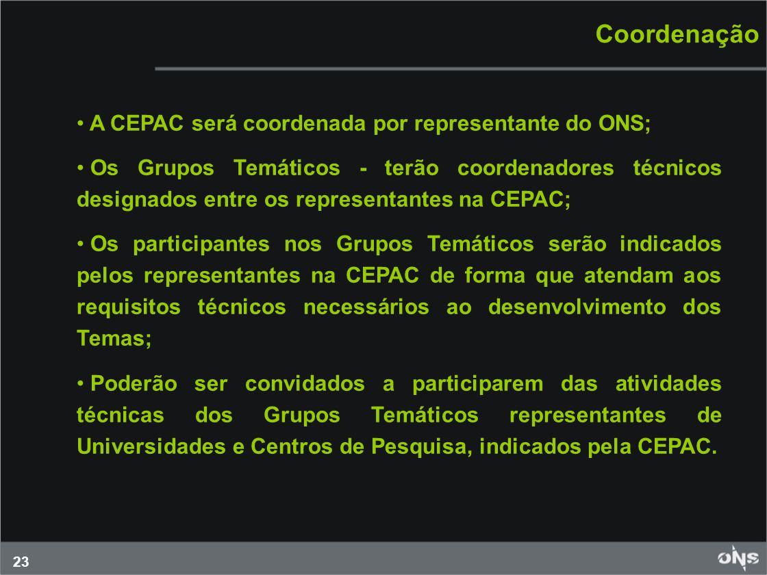 Coordenação A CEPAC será coordenada por representante do ONS;
