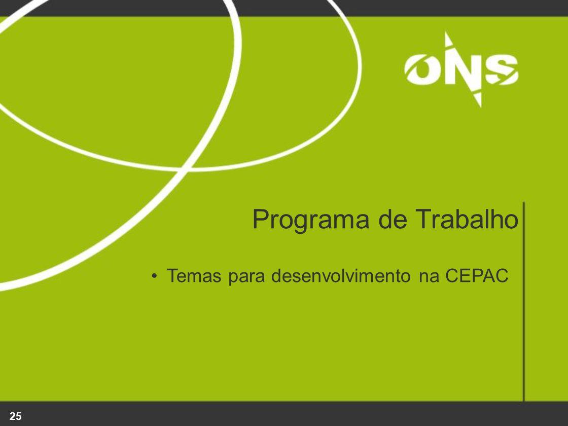Programa de Trabalho Temas para desenvolvimento na CEPAC
