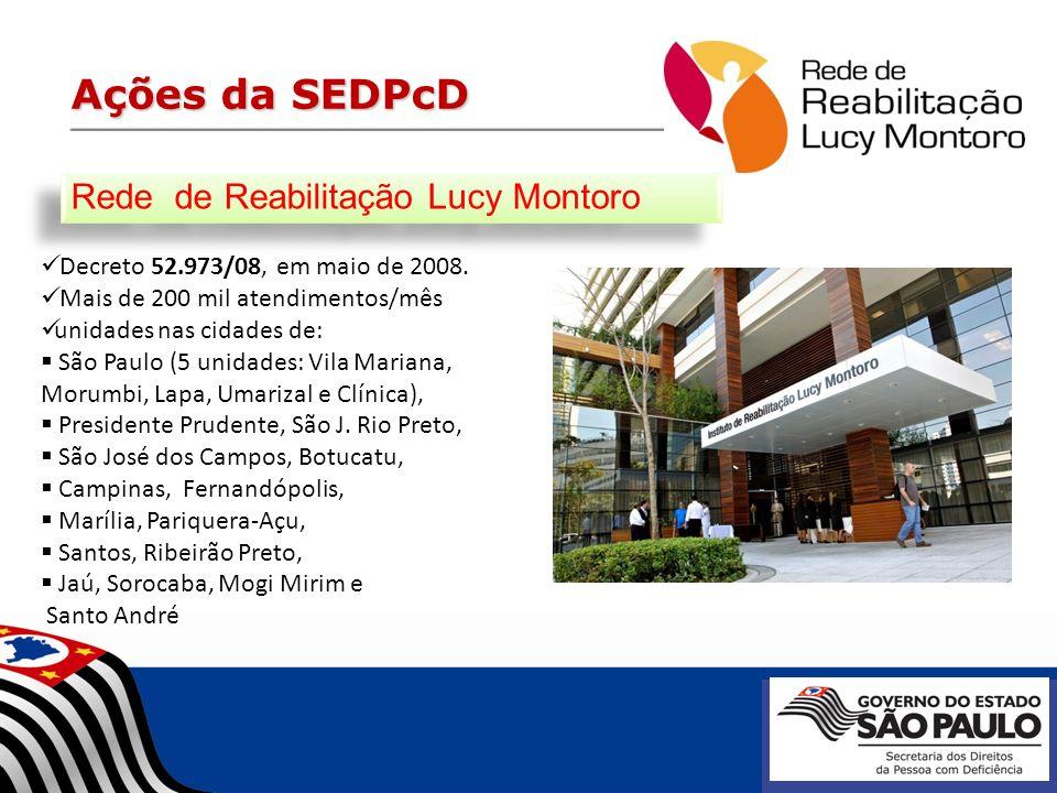 Ações da SEDPcD Rede de Reabilitação Lucy Montoro