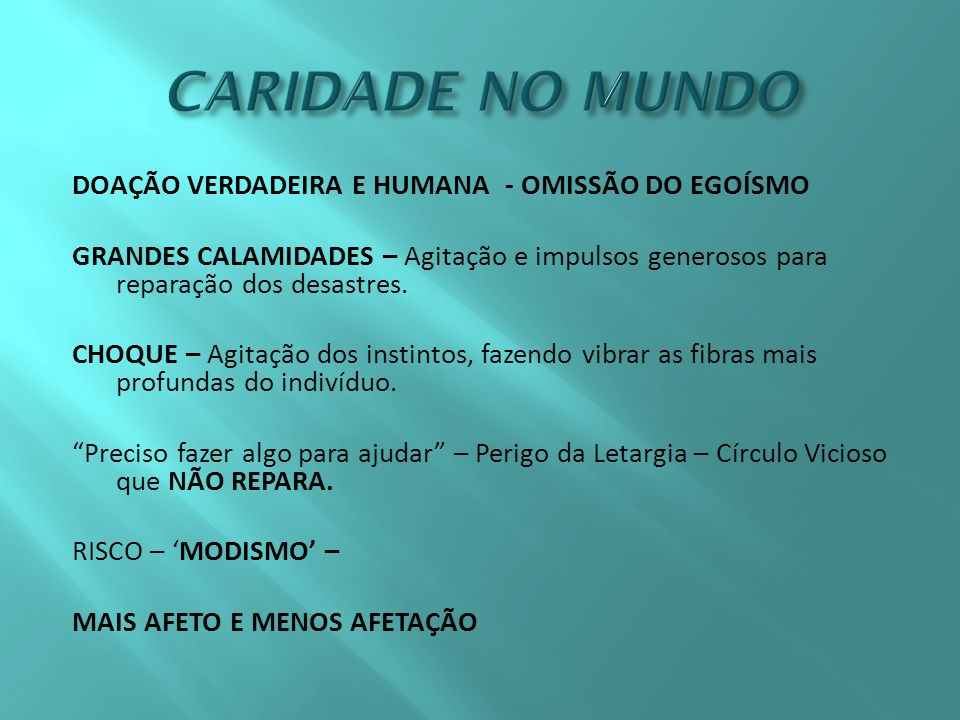 CARIDADE NO MUNDO