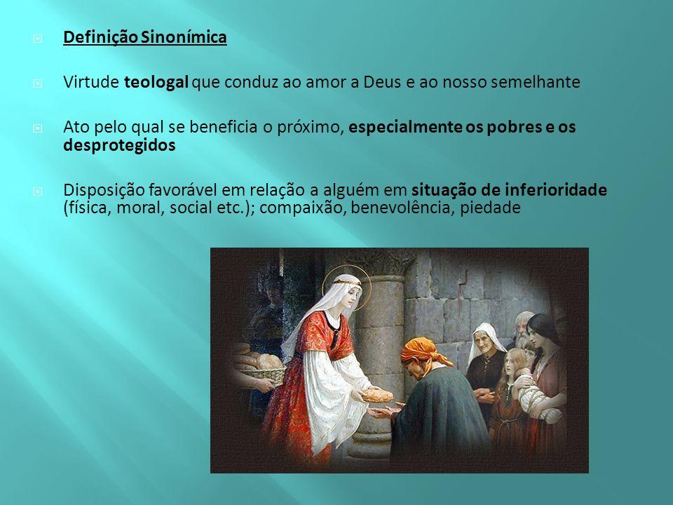Definição Sinonímica Virtude teologal que conduz ao amor a Deus e ao nosso semelhante.