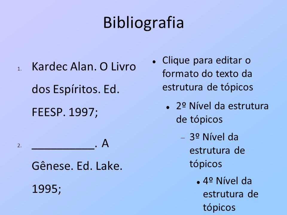 Bibliografia Kardec Alan. O Livro dos Espíritos. Ed. FEESP. 1997;
