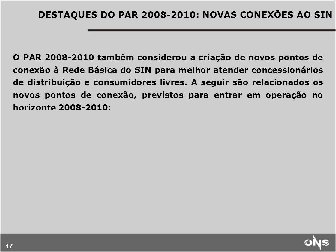 DESTAQUES DO PAR 2008-2010: NOVAS CONEXÕES AO SIN
