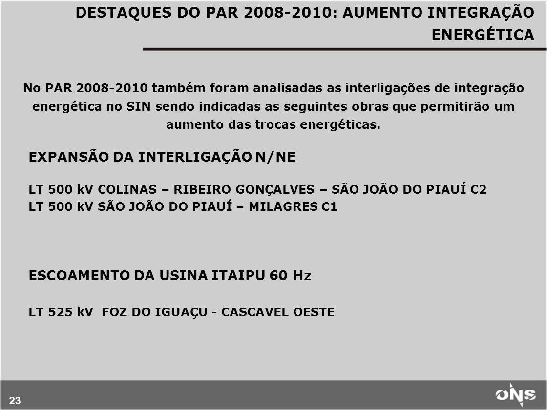 DESTAQUES DO PAR 2008-2010: AUMENTO INTEGRAÇÃO ENERGÉTICA