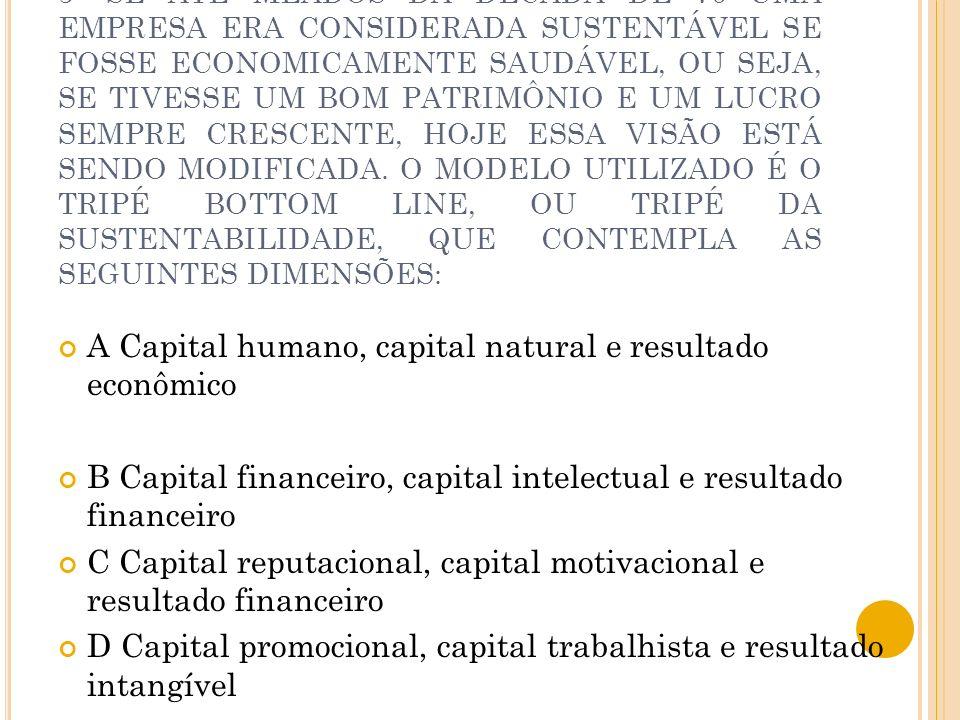 A Capital humano, capital natural e resultado econômico