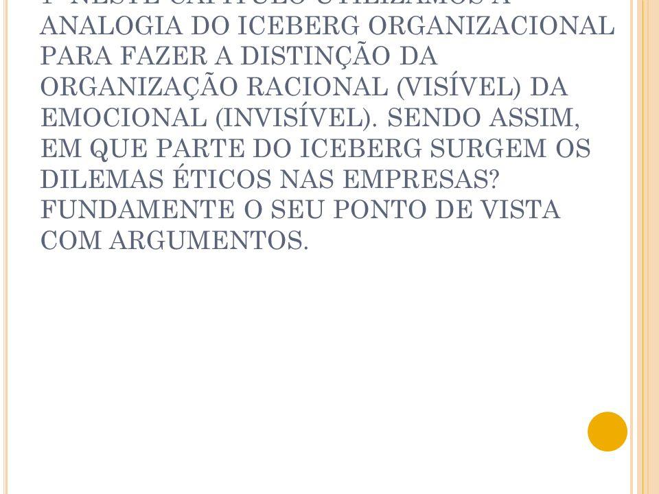 1- NESTE CAPÍTULO UTILIZAMOS A ANALOGIA DO ICEBERG ORGANIZACIONAL PARA FAZER A DISTINÇÃO DA ORGANIZAÇÃO RACIONAL (VISÍVEL) DA EMOCIONAL (INVISÍVEL).