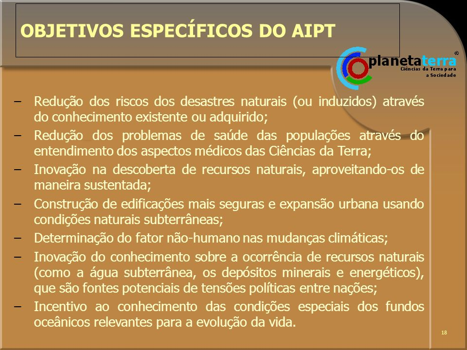 OBJETIVOS ESPECÍFICOS DO AIPT
