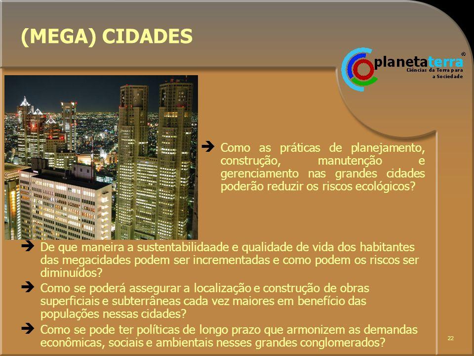 (MEGA) CIDADES Como as práticas de planejamento, construção, manutenção e gerenciamento nas grandes cidades poderão reduzir os riscos ecológicos