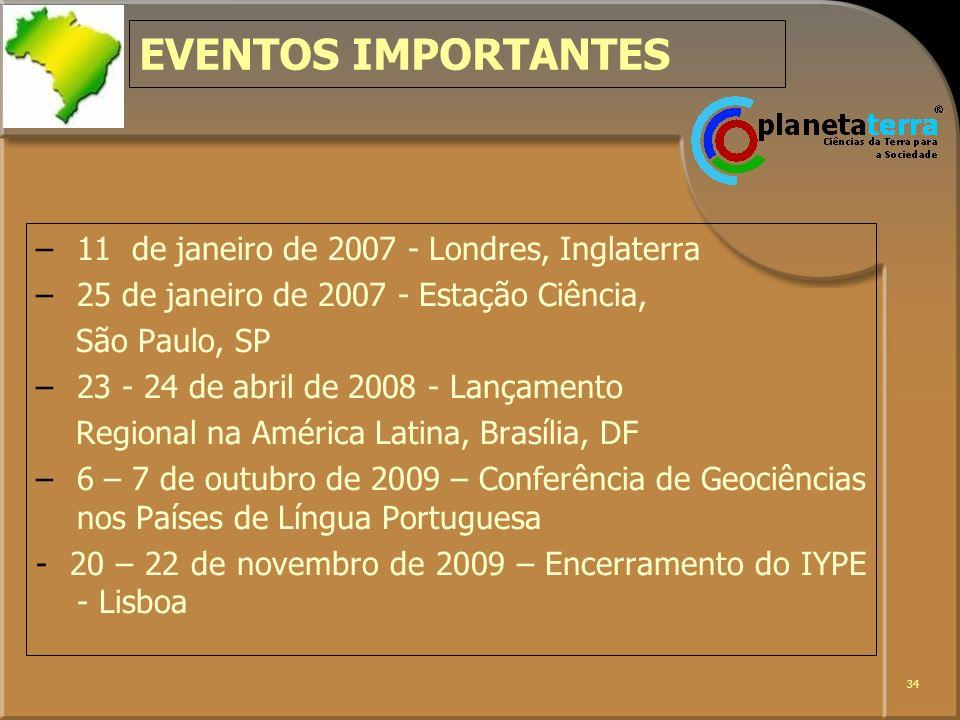 EVENTOS IMPORTANTES 11 de janeiro de 2007 - Londres, Inglaterra