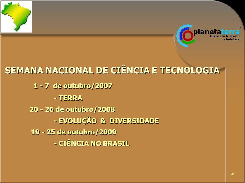 SEMANA NACIONAL DE CIÊNCIA E TECNOLOGIA 1 - 7 de outubro/2007