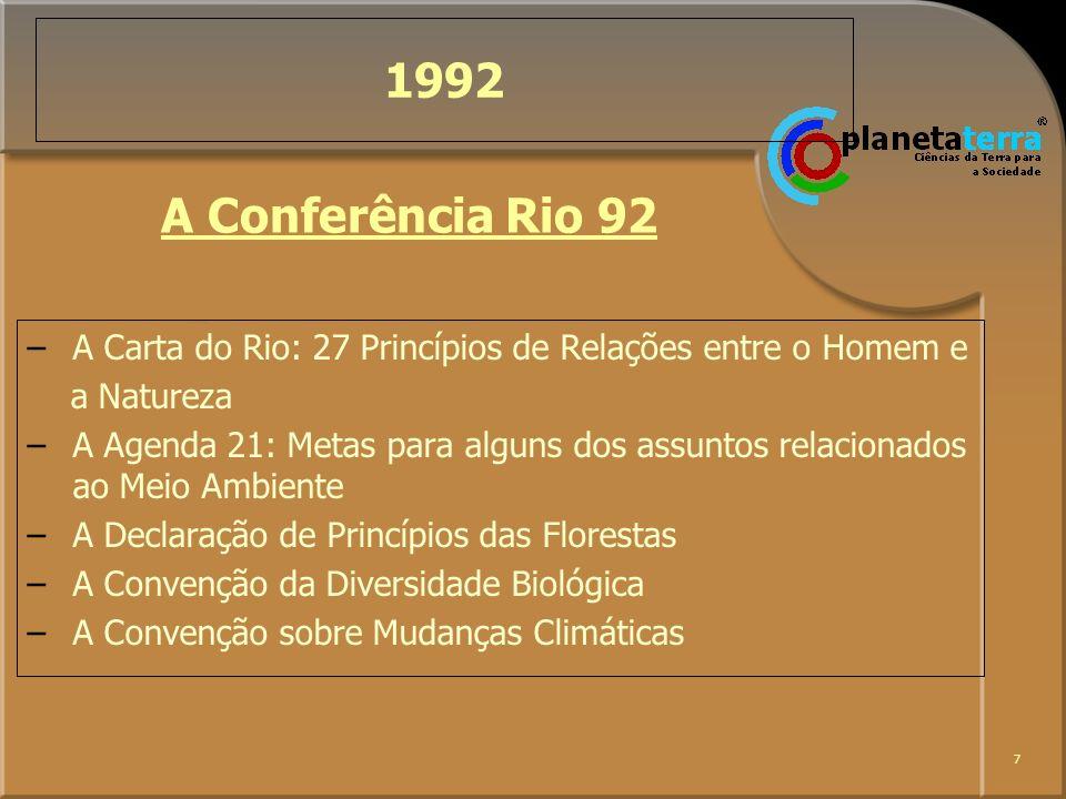 1992A Conferência Rio 92. A Carta do Rio: 27 Princípios de Relações entre o Homem e. a Natureza.