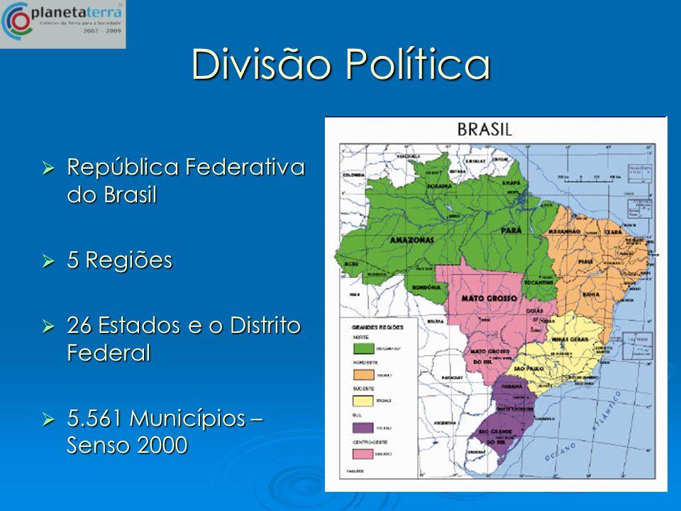 Divisão Política República Federativa do Brasil 5 Regiões