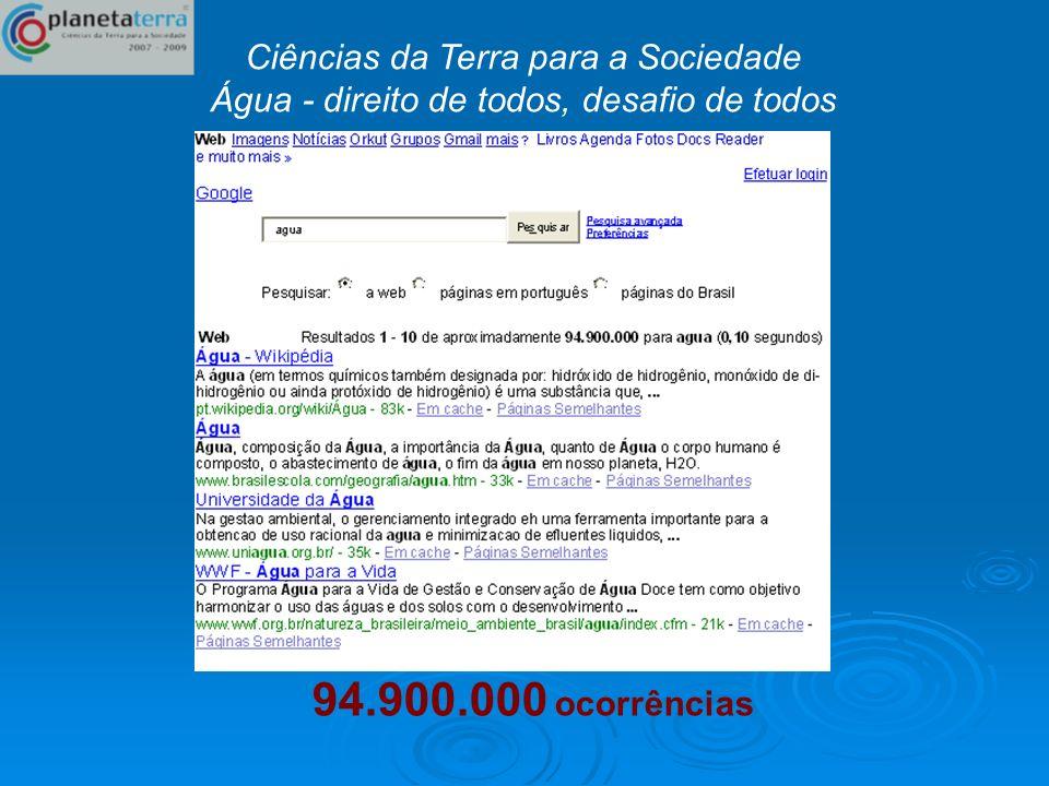 94.900.000 ocorrências Ciências da Terra para a Sociedade