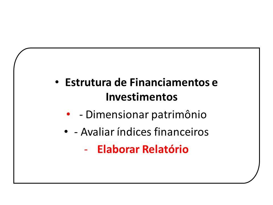 Estrutura de Financiamentos e Investimentos - Dimensionar patrimônio
