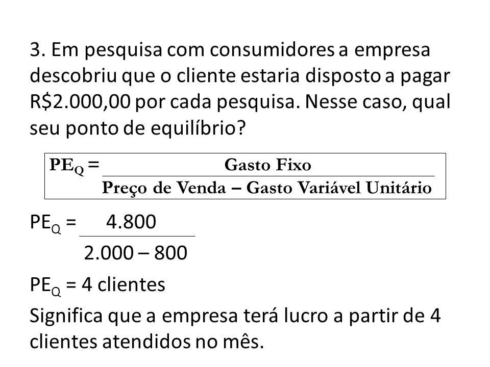 3. Em pesquisa com consumidores a empresa descobriu que o cliente estaria disposto a pagar R$2.000,00 por cada pesquisa. Nesse caso, qual seu ponto de equilíbrio