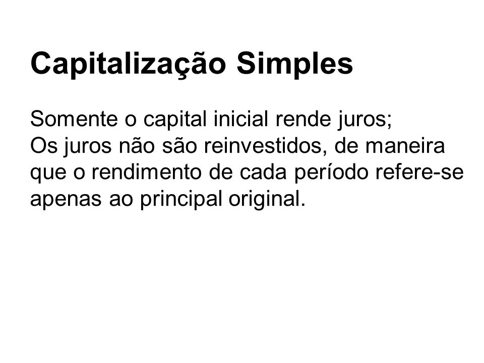 Capitalização Simples