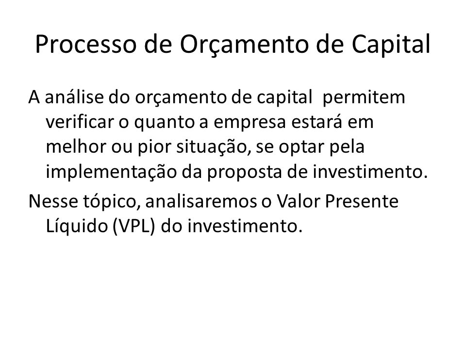 Processo de Orçamento de Capital