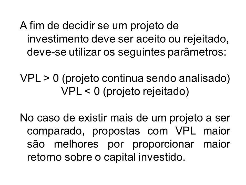 VPL > 0 (projeto continua sendo analisado)
