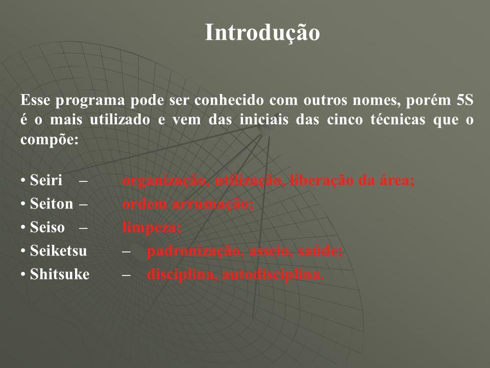 Introdução Esse programa pode ser conhecido com outros nomes, porém 5S é o mais utilizado e vem das iniciais das cinco técnicas que o compõe: