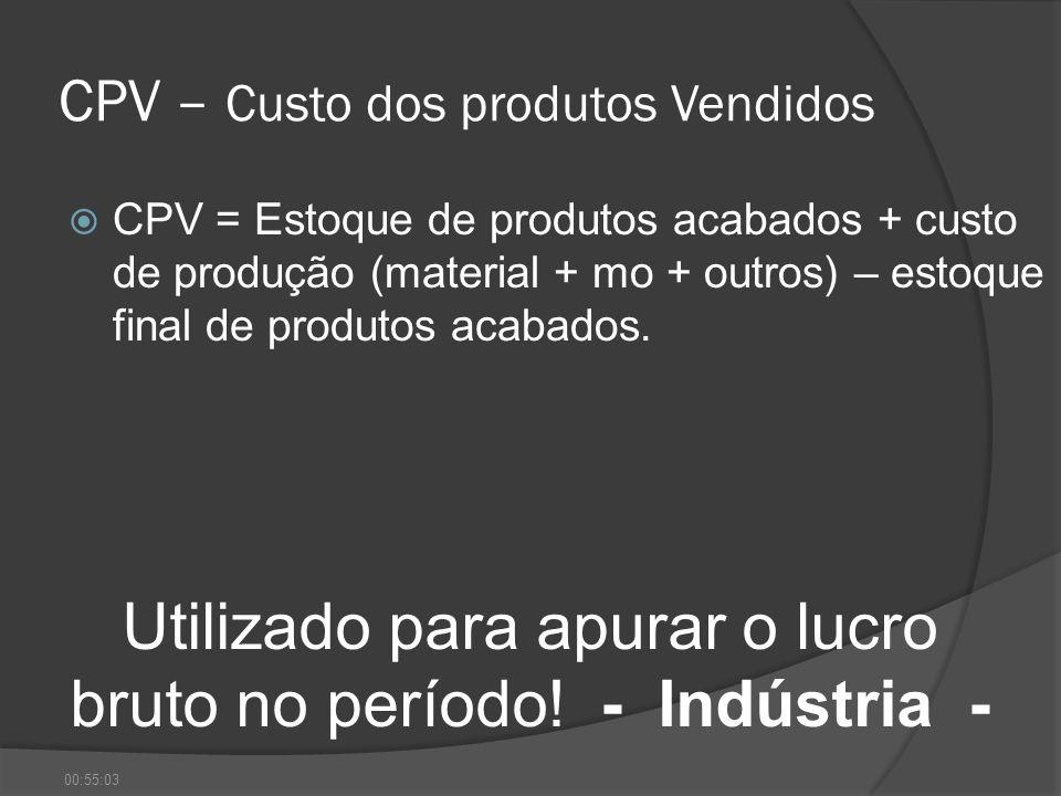 CPV – Custo dos produtos Vendidos