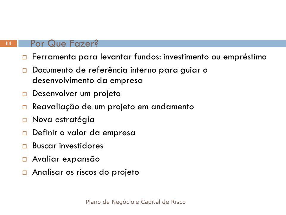 Por Que Fazer Ferramenta para levantar fundos: investimento ou empréstimo. Documento de referência interno para guiar o desenvolvimento da empresa.